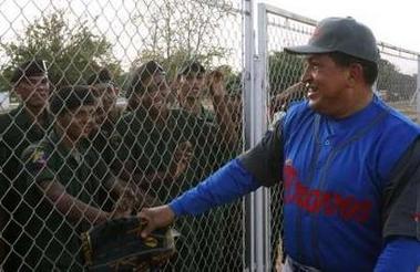 Hugo Chavez, ready to play ball