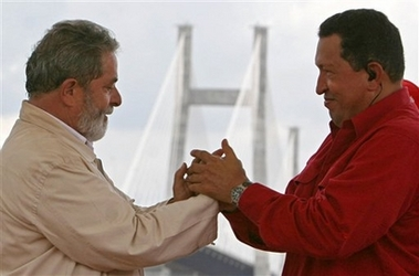 Chavecito and Lula open a bridge at Ciudad Guayana