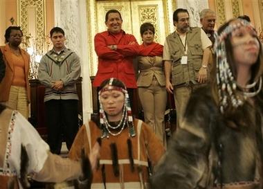 Hugo Chavez at Mount Olive, with Alaskan native dancers