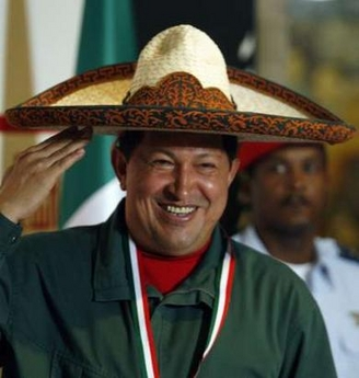 Hugo Chavez in a replica of Emiliano Zapata's sombrero
