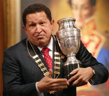 Chavecito with a replica Copa America