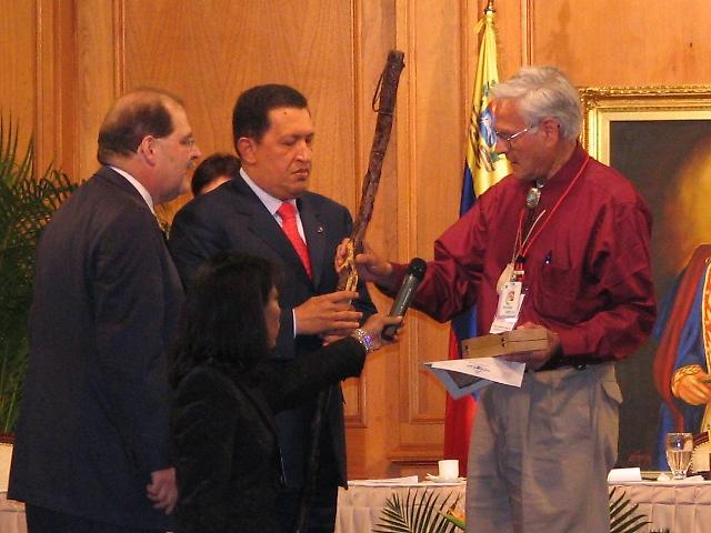 Hugo Chavez honored by Penobscot chief James Sappier