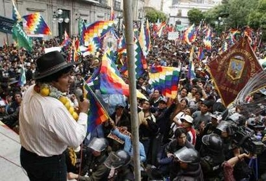 Evo speaking to marchers for the Dignity Pension in Bolivia