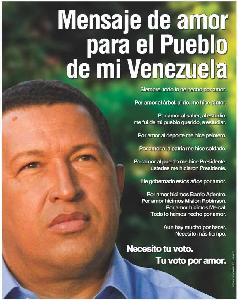 Hugo Chavez's love letter to Venezuela