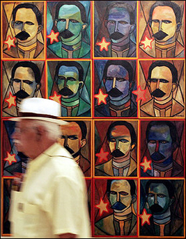 Passing a painting of Jose Marti