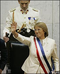 Michelle Bachelet at her inauguration