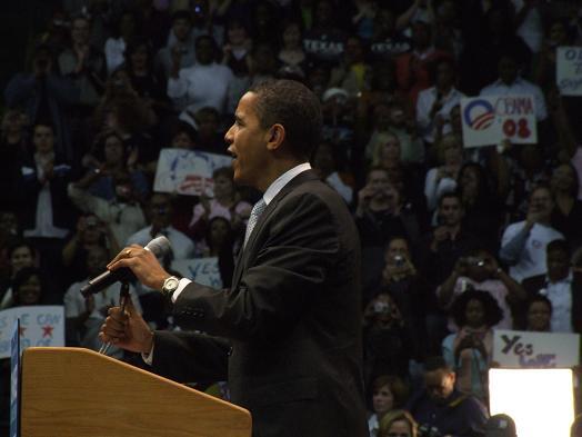 Barack Obama speaking in Dallas, Texas