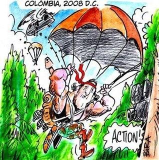 Rambo parachuting into Colombia