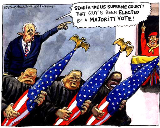 Send in the US Supreme Court, that guy's been elected by a majority vote!