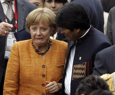 Angela Merkel pulls a face at the summit
