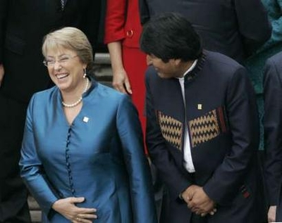 Michelle Bachelet laughing--at something Evo said?